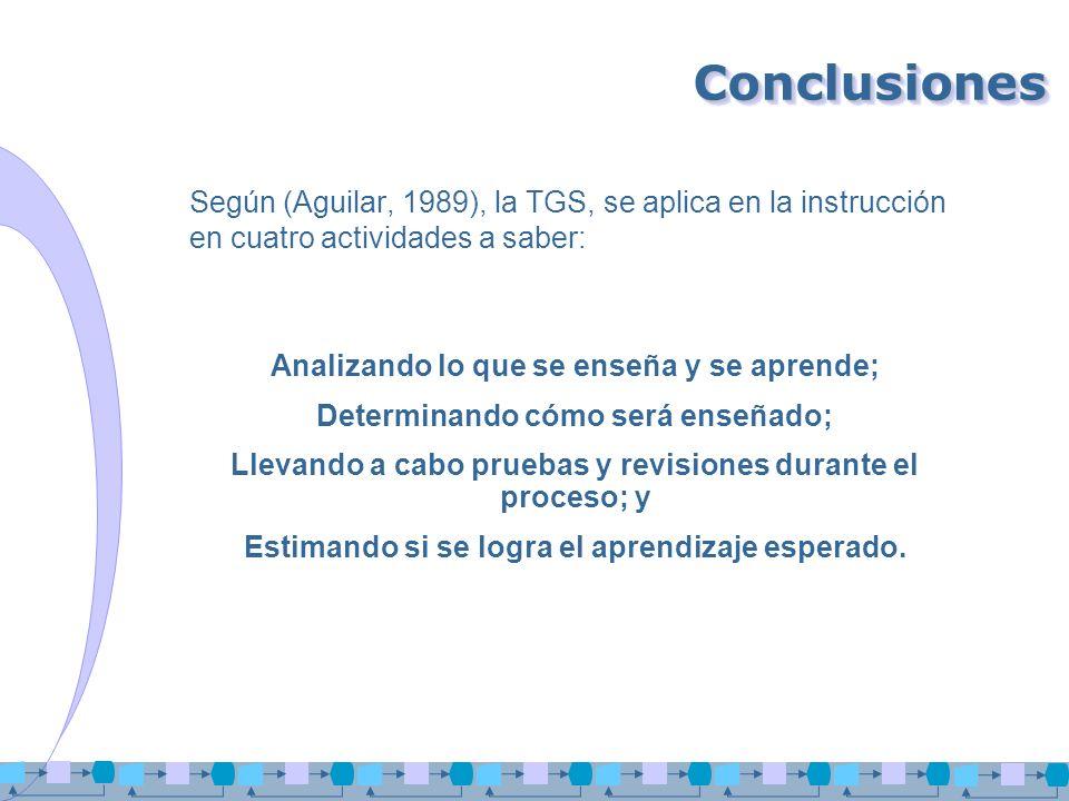 ConclusionesConclusiones Según (Aguilar, 1989), la TGS, se aplica en la instrucción en cuatro actividades a saber: Analizando lo que se enseña y se ap
