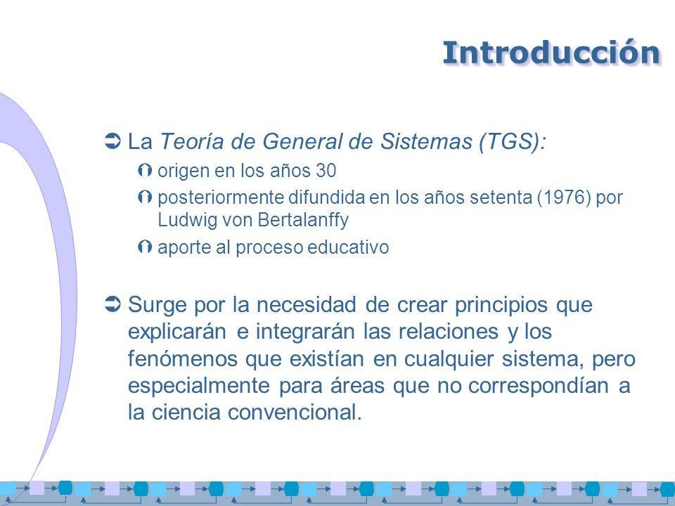 IntroducciónIntroducción La Teoría de General de Sistemas (TGS): origen en los años 30 posteriormente difundida en los años setenta (1976) por Ludwig