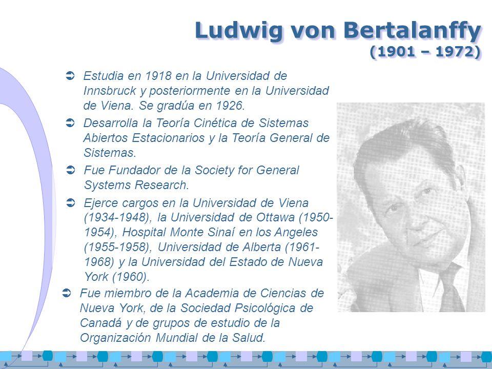 Ludwig von Bertalanffy (1901 – 1972) Estudia en 1918 en la Universidad de Innsbruck y posteriormente en la Universidad de Viena. Se gradúa en 1926. De