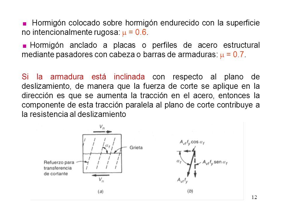 12 Hormigón colocado sobre hormigón endurecido con la superficie no intencionalmente rugosa: = 0.6. Hormigón anclado a placas o perfiles de acero estr