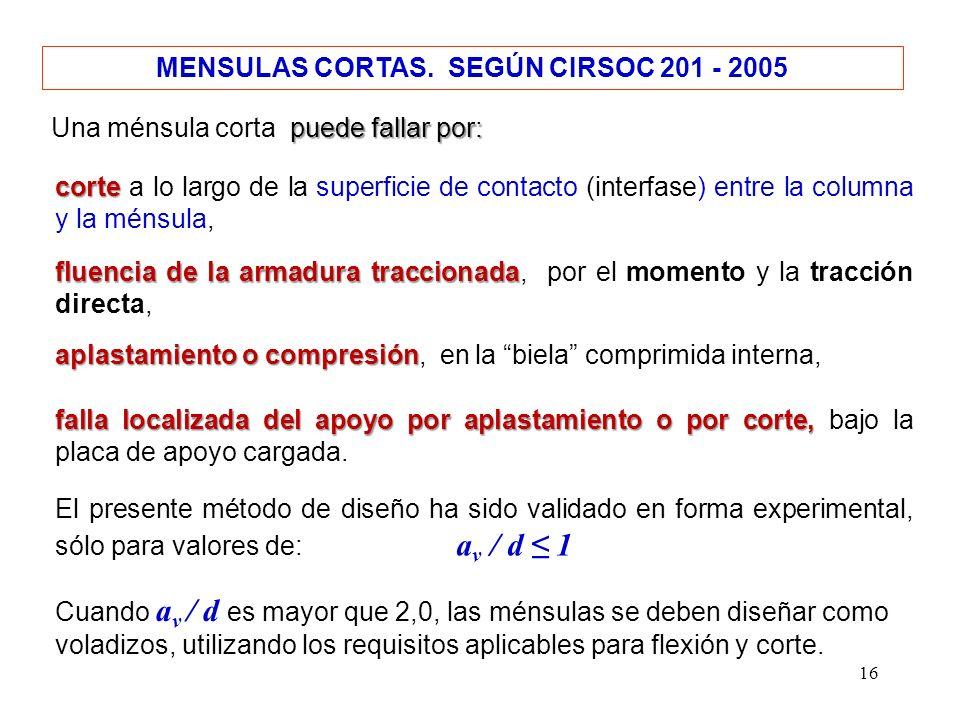 16 MENSULAS CORTAS. SEGÚN CIRSOC 201 - 2005 puede fallar por: Una ménsula corta puede fallar por: corte corte a lo largo de la superficie de contacto