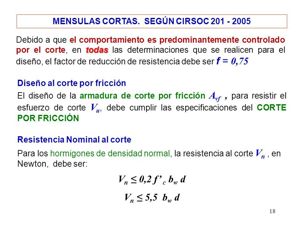 18 MENSULAS CORTAS. SEGÚN CIRSOC 201 - 2005 todas Debido a que el comportamiento es predominantemente controlado por el corte, en todas las determinac