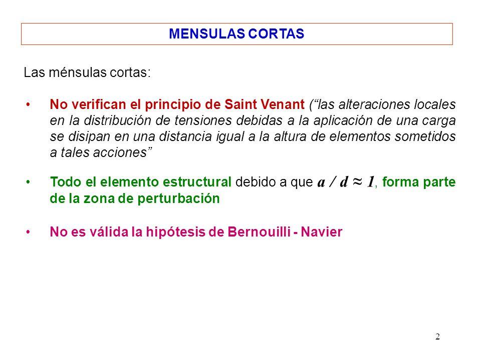2 MENSULAS CORTAS No verifican el principio de Saint Venant (las alteraciones locales en la distribución de tensiones debidas a la aplicación de una c