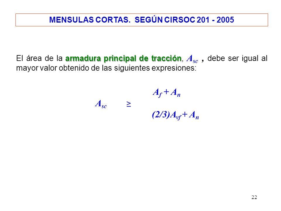 22 MENSULAS CORTAS. SEGÚN CIRSOC 201 - 2005 armadura principal de tracción El área de la armadura principal de tracción, A sc, debe ser igual al mayor