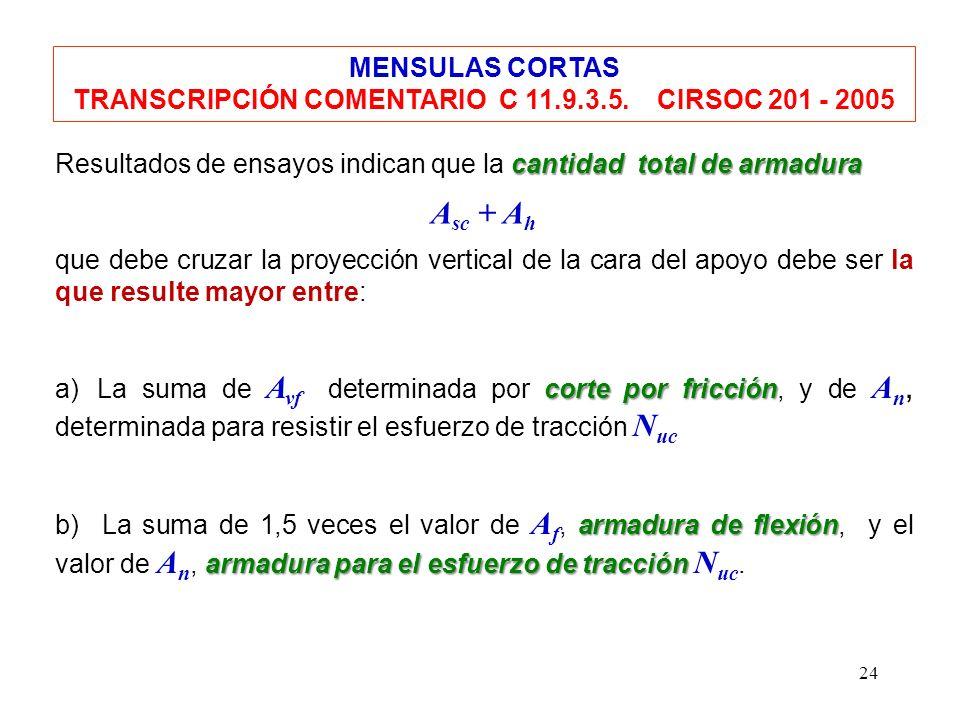 24 MENSULAS CORTAS TRANSCRIPCIÓN COMENTARIO C 11.9.3.5. CIRSOC 201 - 2005 cantidad total de armadura Resultados de ensayos indican que la cantidad tot