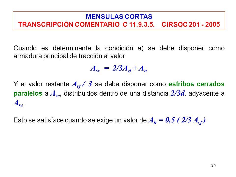25 Cuando es determinante la condición a) se debe disponer como armadura principal de tracción el valor A sc = 2/3A vf + A n Y el valor restante A vf