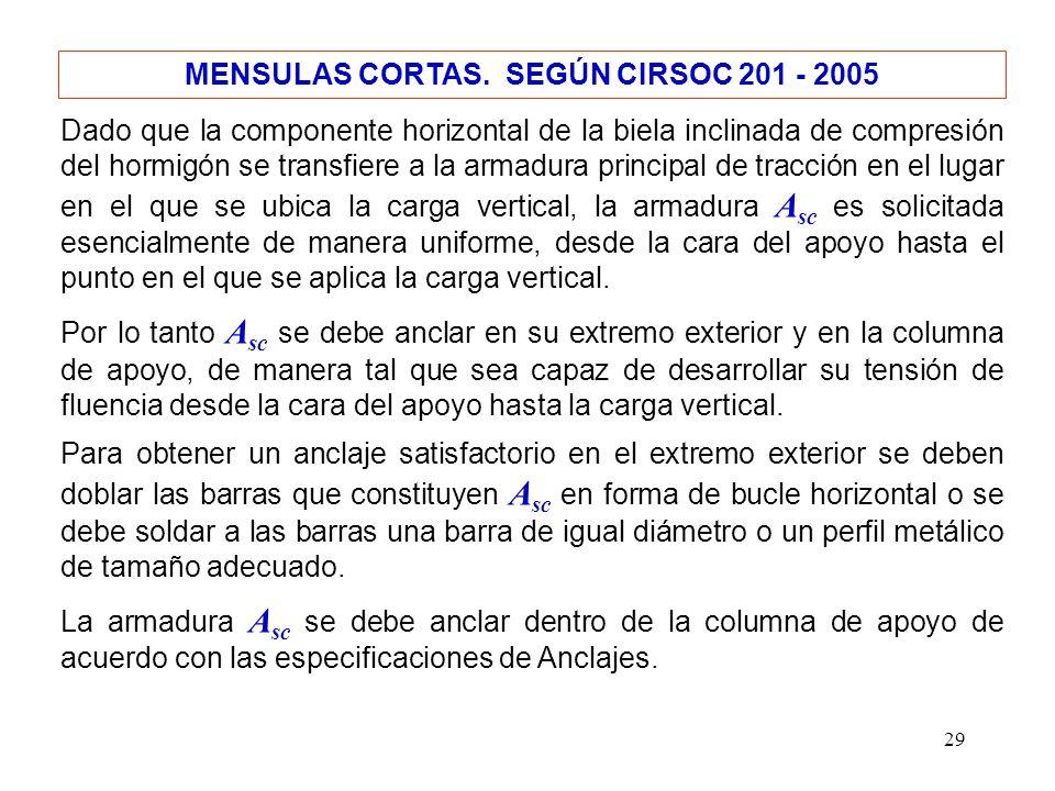29 MENSULAS CORTAS. SEGÚN CIRSOC 201 - 2005 Dado que la componente horizontal de la biela inclinada de compresión del hormigón se transfiere a la arma