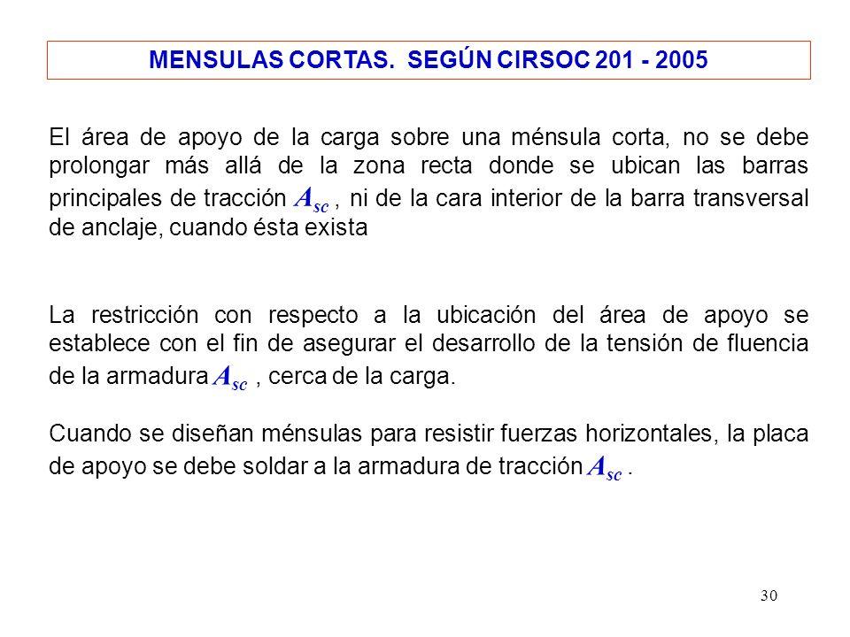 30 MENSULAS CORTAS. SEGÚN CIRSOC 201 - 2005 El área de apoyo de la carga sobre una ménsula corta, no se debe prolongar más allá de la zona recta donde