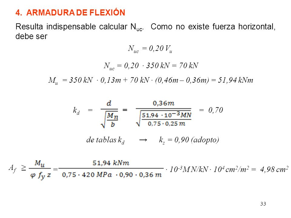 33 4. ARMADURA DE FLEXIÓN N uc = 0,20 350 kN = 70 kN M u = 350 kN 0,13m + 70 kN (0,46m – 0,36m) = 51,94 kNm Resulta indispensable calcular N uc. Como