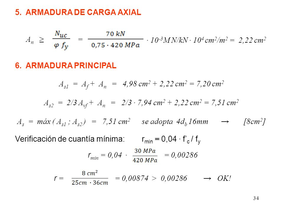 34 5. ARMADURA DE CARGA AXIAL A n = 10 -3 M N/kN 10 4 cm 2 /m 2 = 2,22 cm 2 6. ARMADURA PRINCIPAL A s1 = A f + A n = 4,98 cm 2 + 2,22 cm 2 = 7,20 cm 2