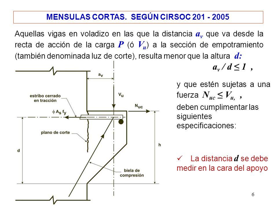6 MENSULAS CORTAS. SEGÚN CIRSOC 201 - 2005 Aquellas vigas en voladizo en las que la distancia a v que va desde la recta de acción de la carga P (ó V u