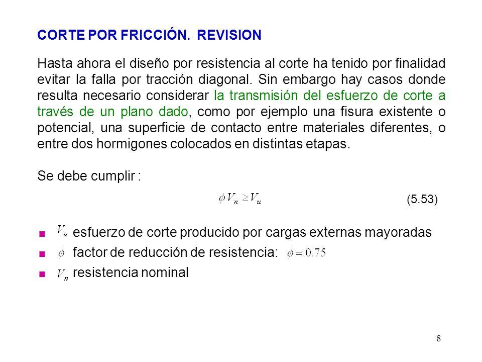 8 CORTE POR FRICCIÓN. REVISION Hasta ahora el diseño por resistencia al corte ha tenido por finalidad evitar la falla por tracción diagonal. Sin embar