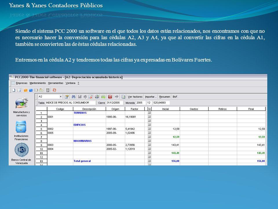 Siendo el sistema PCC 2000 un software en el que todos los datos están relacionados, nos encontramos con que no es necesario hacer la conversión para las cédulas A2, A3 y A4, ya que al convertir las cifras en la cédula A1, también se convierten las de éstas cédulas relacionadas.