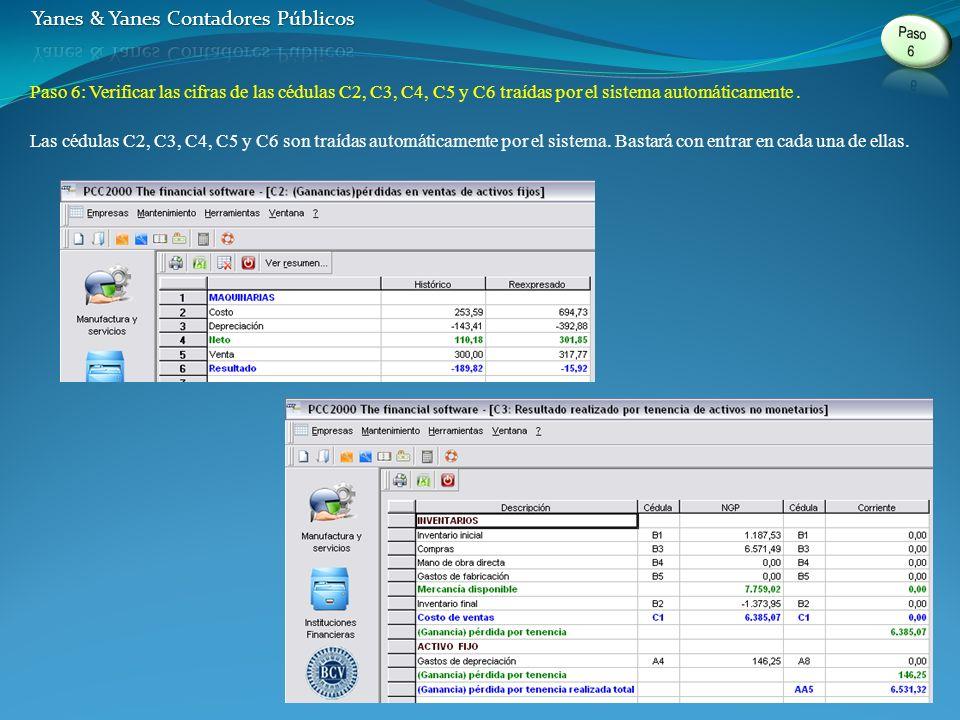 Paso 6: Verificar las cifras de las cédulas C2, C3, C4, C5 y C6 traídas por el sistema automáticamente.
