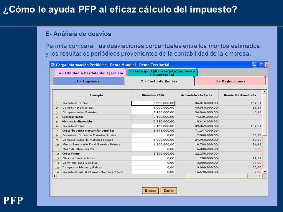 ¿Cómo le ayuda PFP al eficaz cálculo del impuesto? E- Análisis de desvíos Permite comparar las desviaciones porcentuales entre los montos estimados y