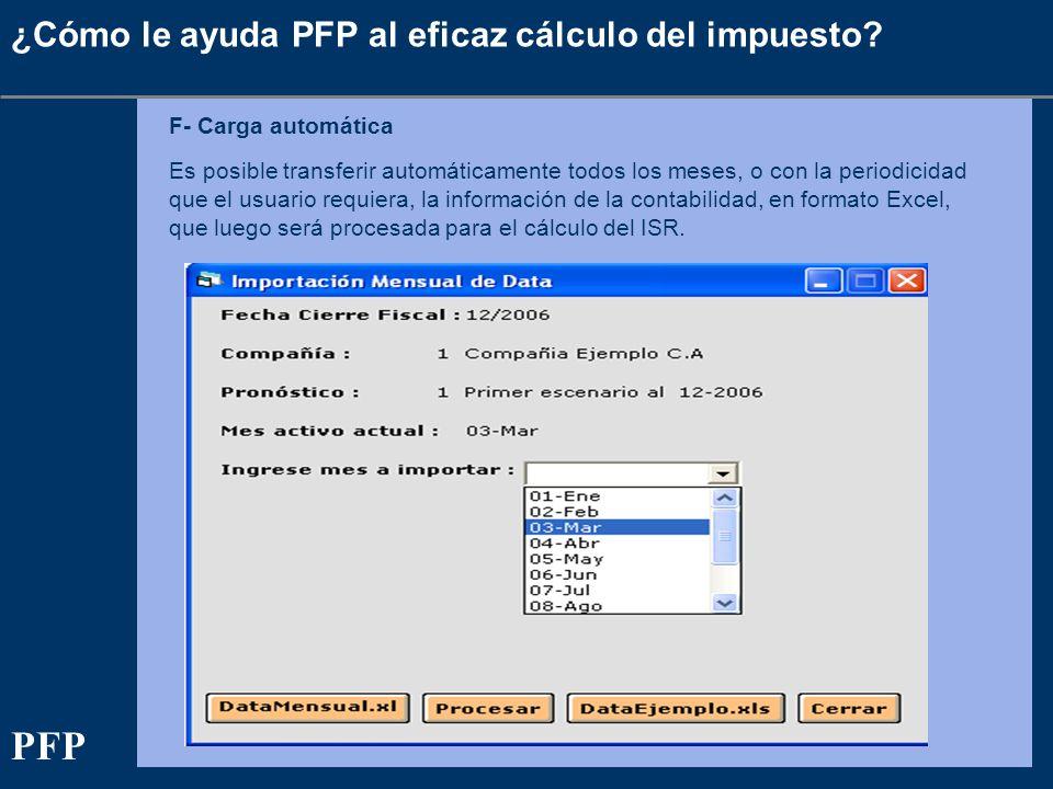 ¿Cómo le ayuda PFP al eficaz cálculo del impuesto? F- Carga automática Es posible transferir automáticamente todos los meses, o con la periodicidad qu