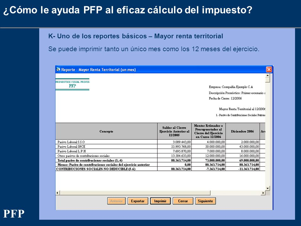 ¿Cómo le ayuda PFP al eficaz cálculo del impuesto? K- Uno de los reportes básicos – Mayor renta territorial Se puede imprimir tanto un único mes como