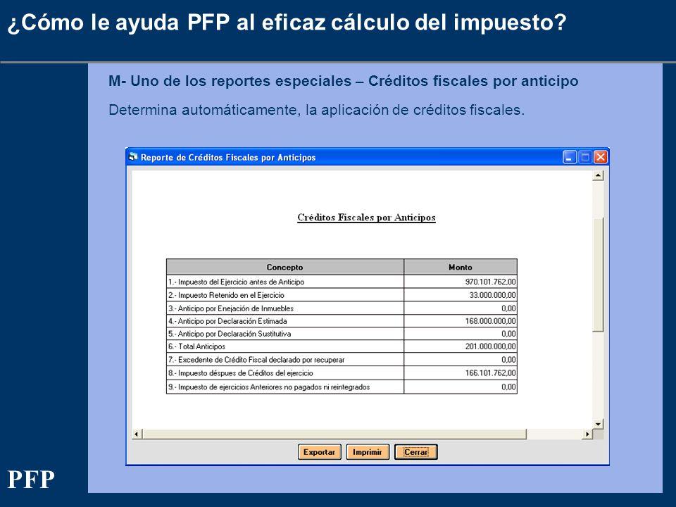 ¿Cómo le ayuda PFP al eficaz cálculo del impuesto? M- Uno de los reportes especiales – Créditos fiscales por anticipo Determina automáticamente, la ap