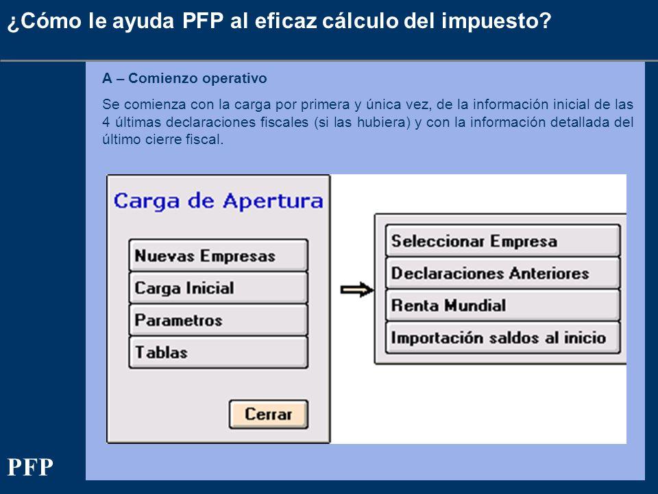 ¿Cómo le ayuda PFP al eficaz cálculo del impuesto? A – Comienzo operativo Se comienza con la carga por primera y única vez, de la información inicial