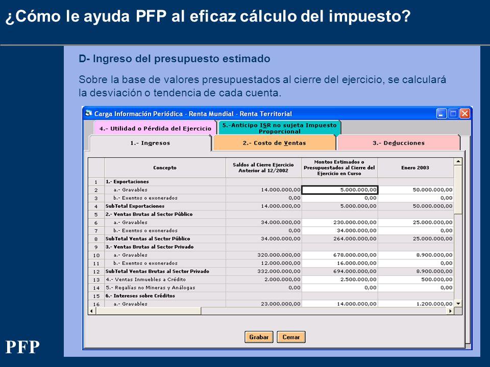 ¿Cómo le ayuda PFP al eficaz cálculo del impuesto? D- Ingreso del presupuesto estimado Sobre la base de valores presupuestados al cierre del ejercicio