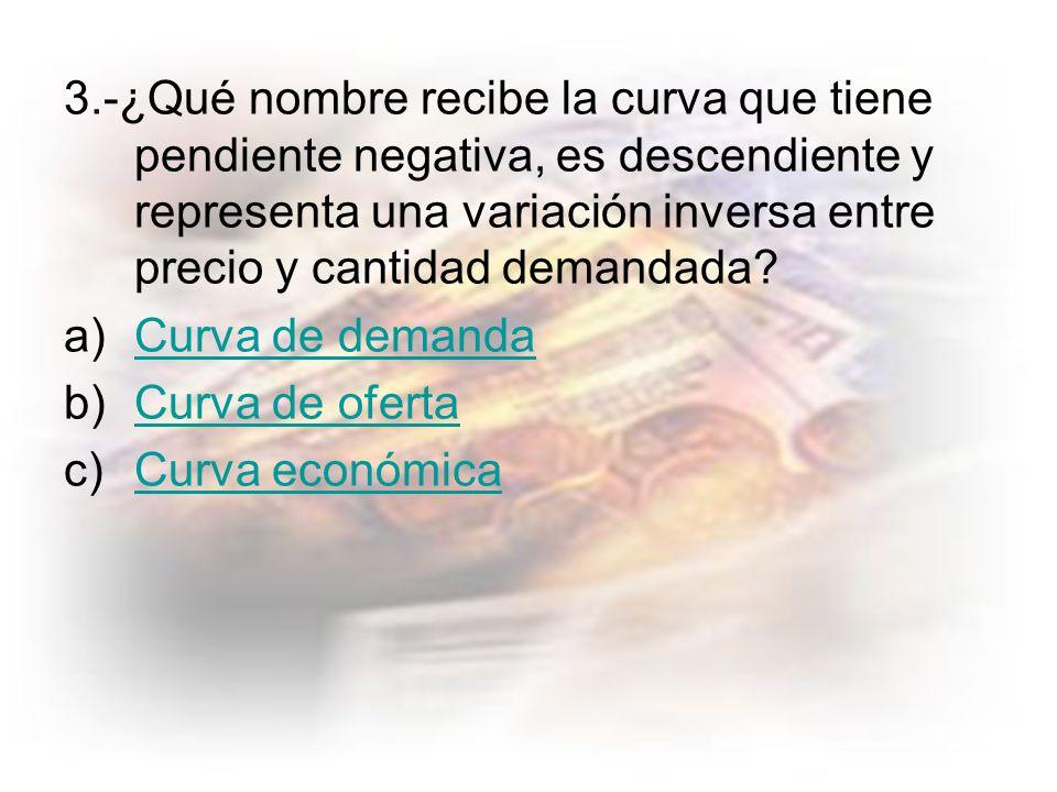 3.-¿Qué nombre recibe la curva que tiene pendiente negativa, es descendiente y representa una variación inversa entre precio y cantidad demandada.