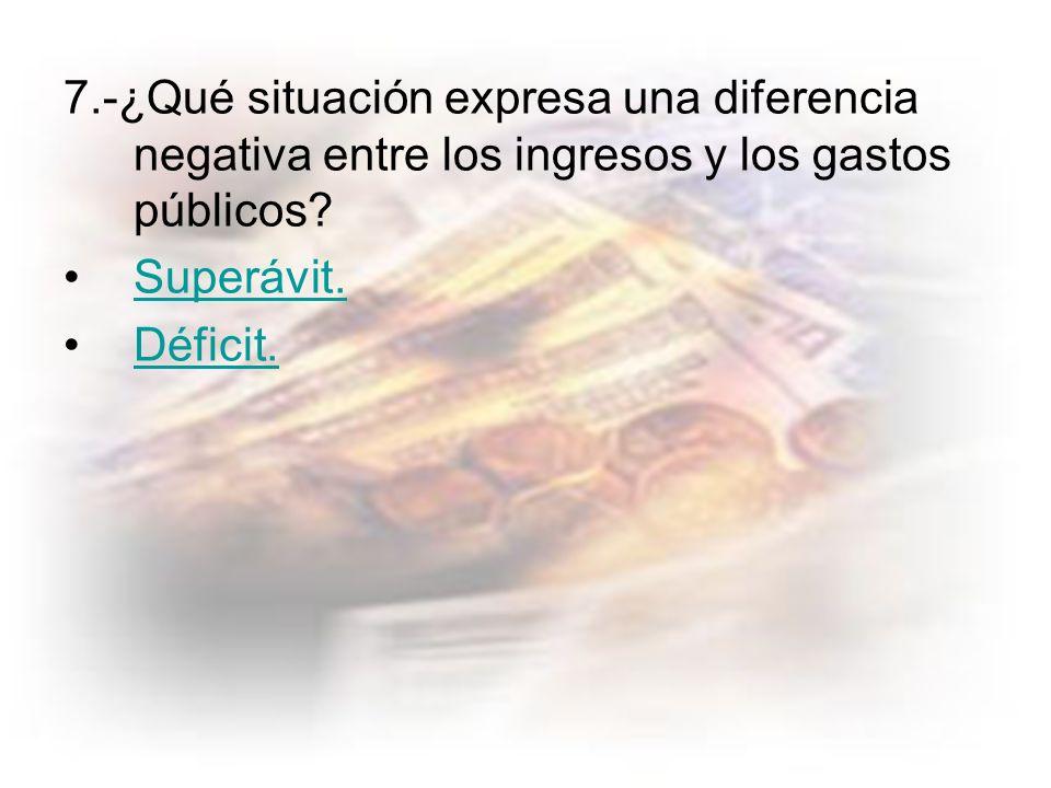 7.-¿Qué situación expresa una diferencia negativa entre los ingresos y los gastos públicos.