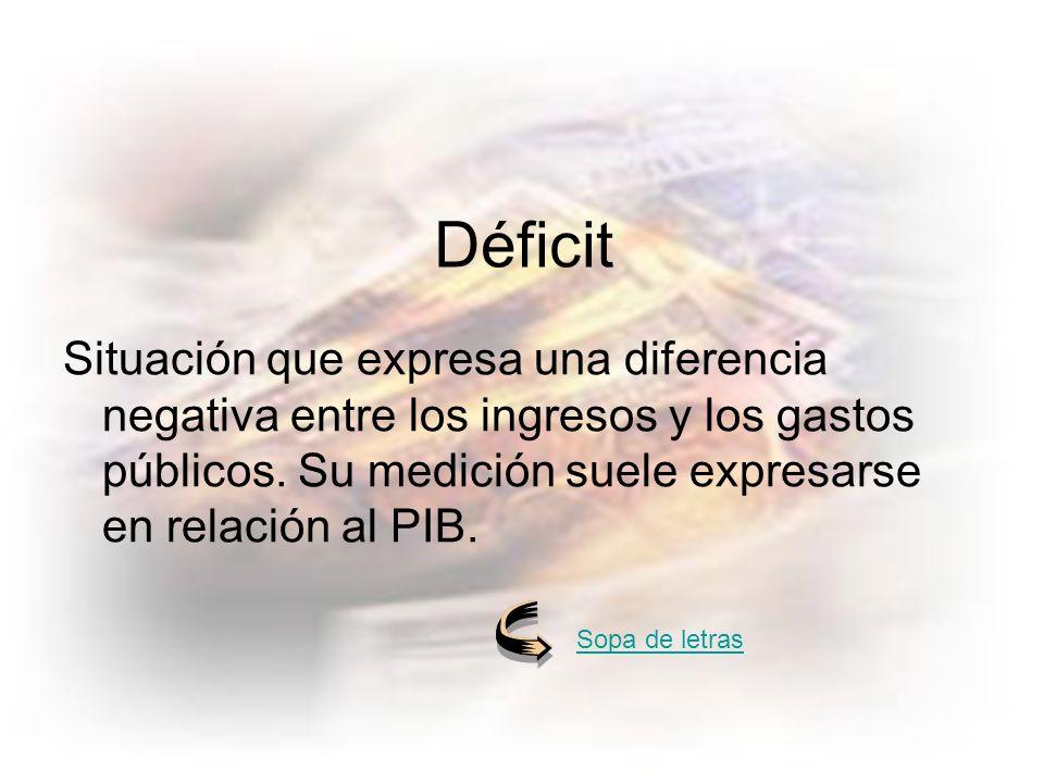Déficit Situación que expresa una diferencia negativa entre los ingresos y los gastos públicos.