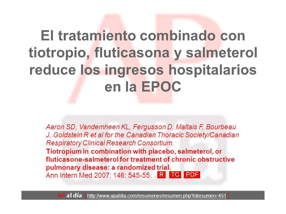 AP al día [ http://www.apaldia.com/resumenes/resumen.php?idresumen=451 ] Resultados (4) La calidad de vida mejoró más en los grupos de tratamiento combinado que en el de tiotropio.