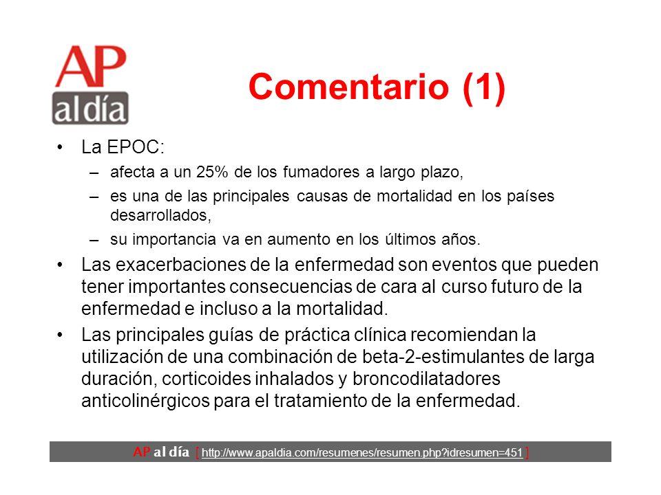 AP al día [ http://www.apaldia.com/resumenes/resumen.php idresumen=451 ] Comentario (1) La EPOC: –afecta a un 25% de los fumadores a largo plazo, –es una de las principales causas de mortalidad en los países desarrollados, –su importancia va en aumento en los últimos años.