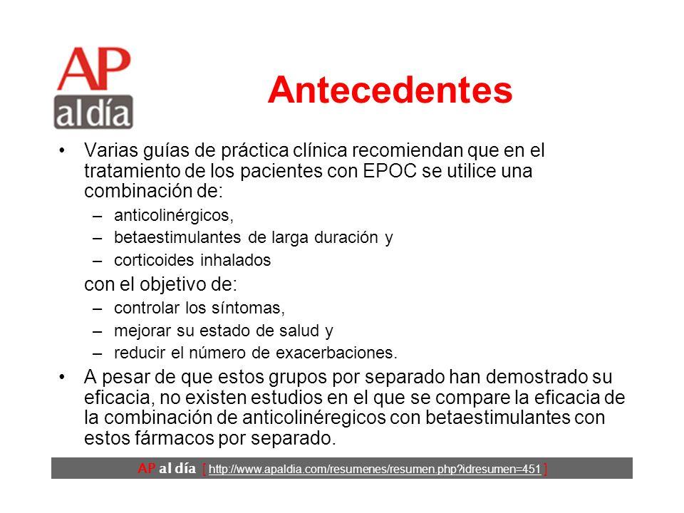AP al día [ http://www.apaldia.com/resumenes/resumen.php?idresumen=451 ] Antecedentes Varias guías de práctica clínica recomiendan que en el tratamien