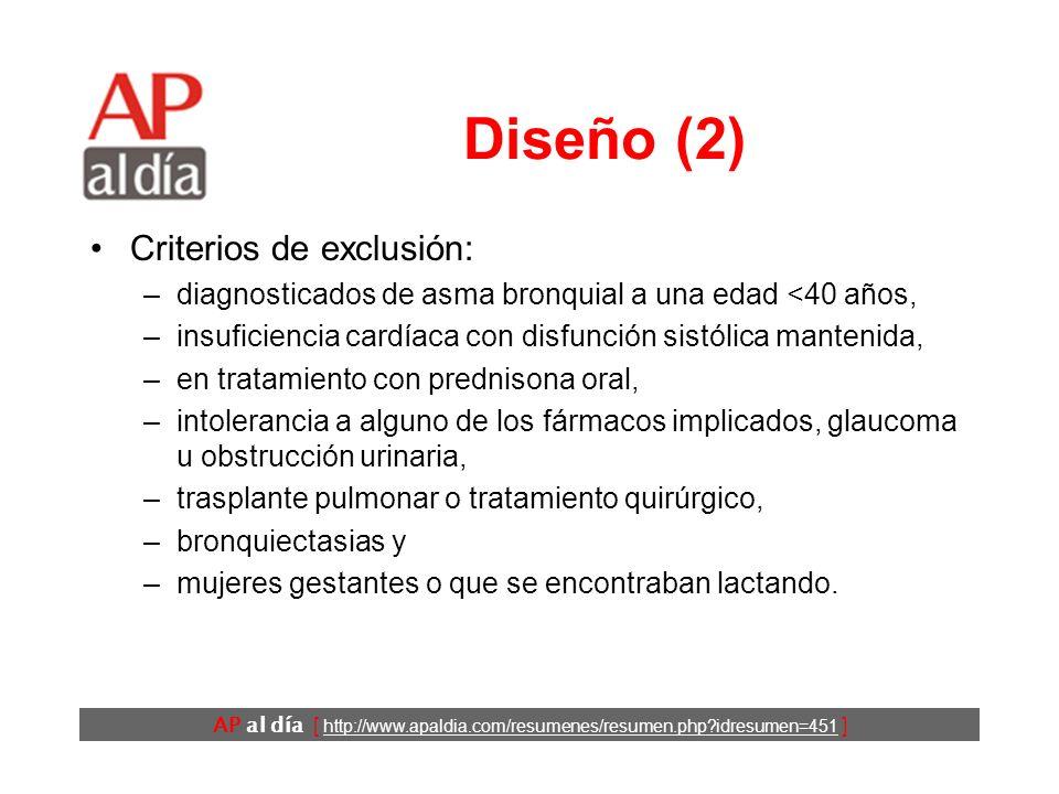 AP al día [ http://www.apaldia.com/resumenes/resumen.php idresumen=451 ] Diseño (2) Criterios de exclusión: –diagnosticados de asma bronquial a una edad <40 años, –insuficiencia cardíaca con disfunción sistólica mantenida, –en tratamiento con prednisona oral, –intolerancia a alguno de los fármacos implicados, glaucoma u obstrucción urinaria, –trasplante pulmonar o tratamiento quirúrgico, –bronquiectasias y –mujeres gestantes o que se encontraban lactando.