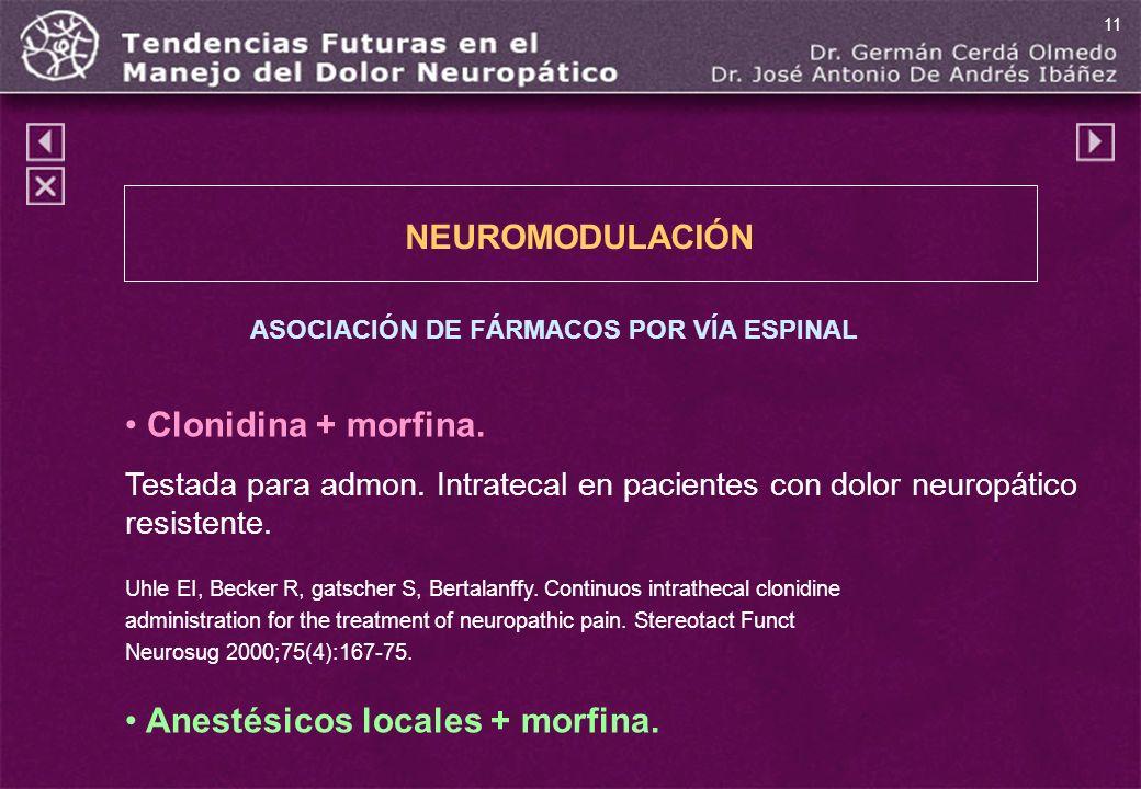 ASOCIACIÓN DE FÁRMACOS POR VÍA ESPINAL Clonidina + morfina. Testada para admon. Intratecal en pacientes con dolor neuropático resistente. Uhle EI, Bec