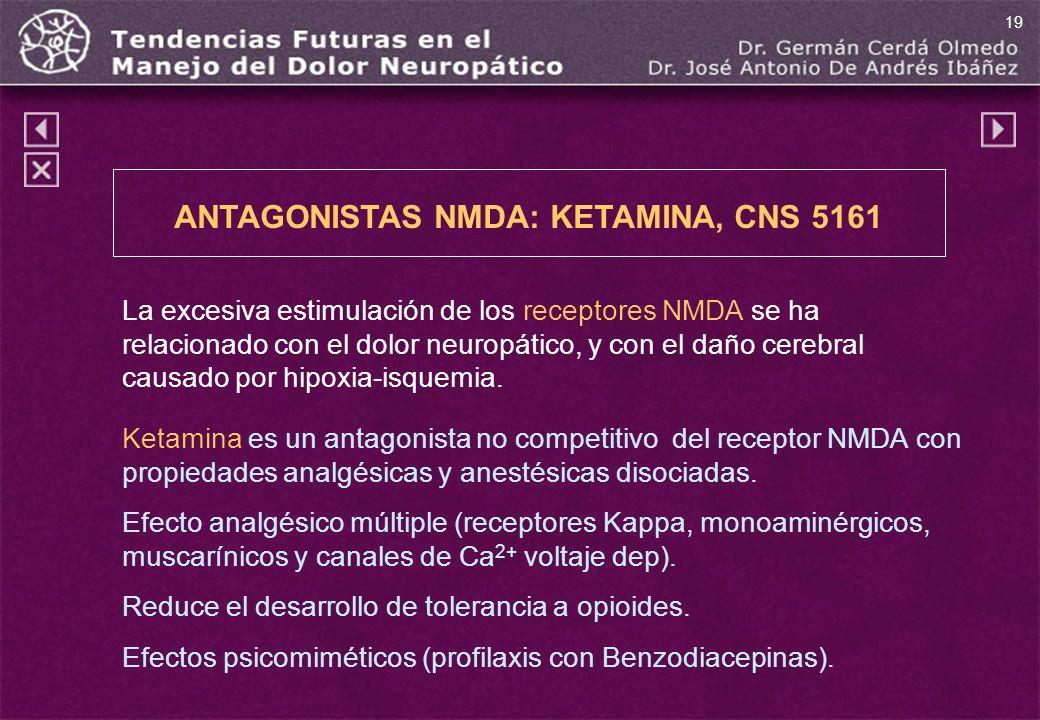ANTAGONISTAS NMDA: KETAMINA, CNS 5161 La excesiva estimulación de los receptores NMDA se ha relacionado con el dolor neuropático, y con el daño cerebr