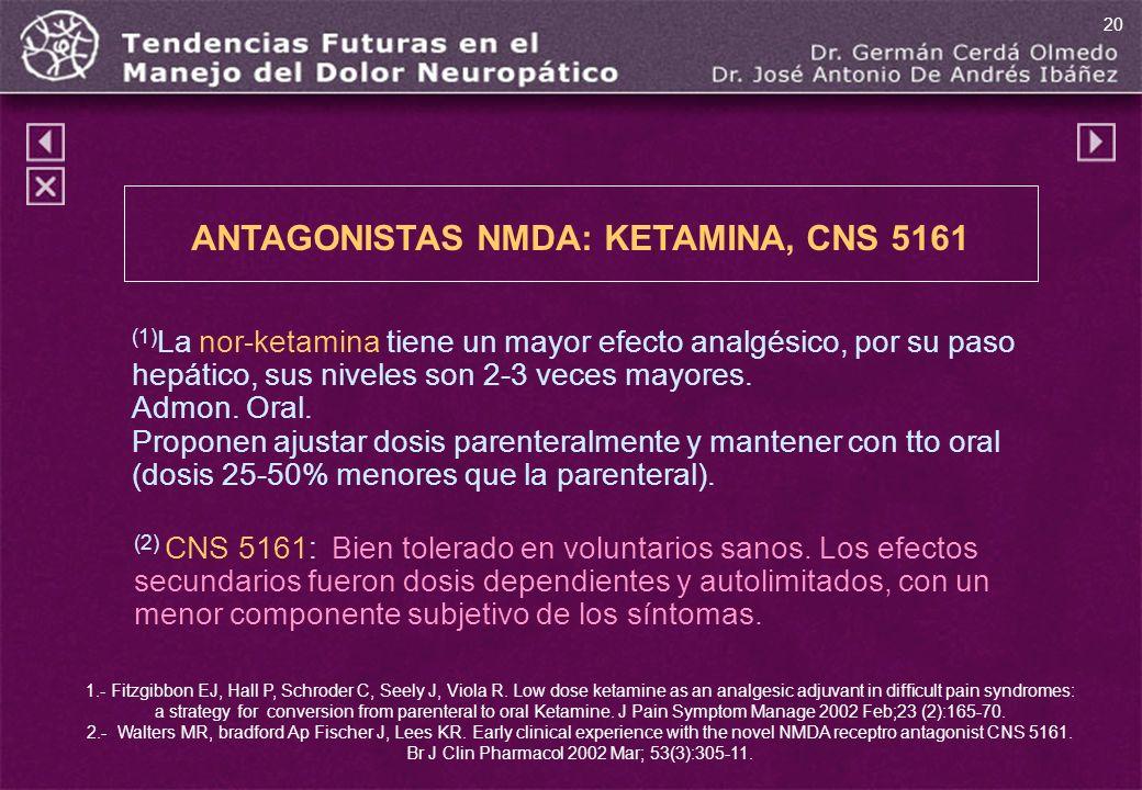 ANTAGONISTAS NMDA: KETAMINA, CNS 5161 (1) La nor-ketamina tiene un mayor efecto analgésico, por su paso hepático, sus niveles son 2-3 veces mayores. A