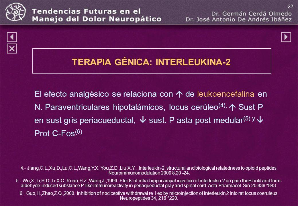 TERAPIA GÉNICA: INTERLEUKINA-2 El efecto analgésico se relaciona con de leukoencefalina en N. Paraventriculares hipotalámicos, locus cerúleo (4), Sust