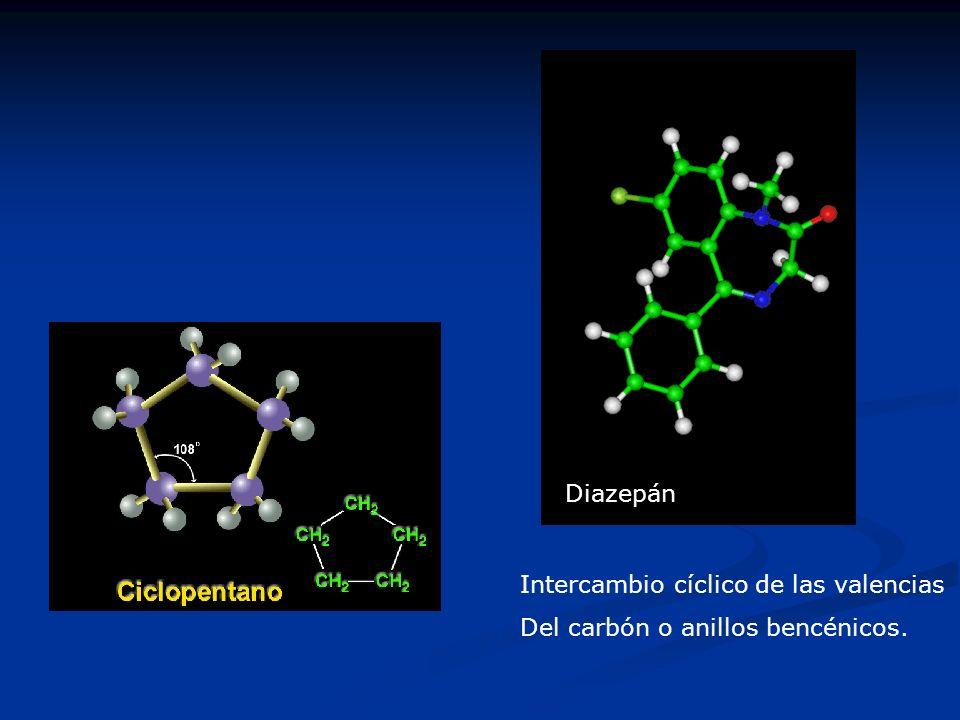 Intercambio cíclico de las valencias Del carbón o anillos bencénicos. Diazepán