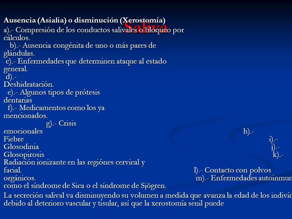 Saliva Ausencia (Asialia) o disminución (Xerostomía) Ausencia (Asialia) o disminución (Xerostomía) a).- Compresión de los conductos salivales o bloque