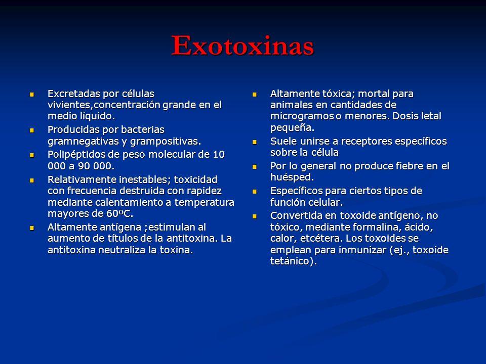 Exotoxinas Excretadas por células vivientes,concentración grande en el medio líquido. Excretadas por células vivientes,concentración grande en el medi