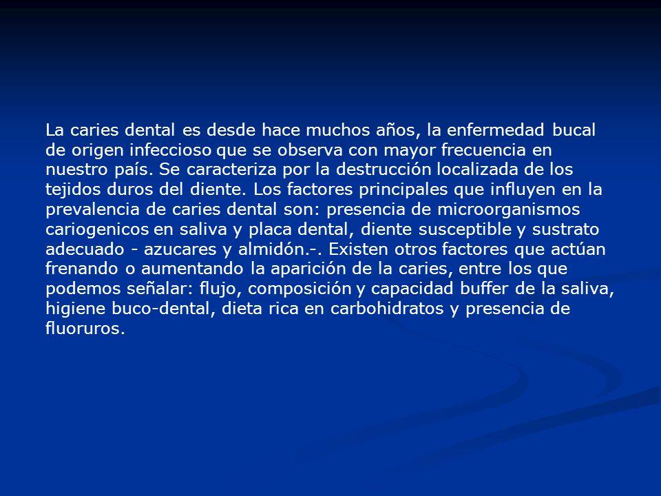 La caries dental es desde hace muchos años, la enfermedad bucal de origen infeccioso que se observa con mayor frecuencia en nuestro país. Se caracteri
