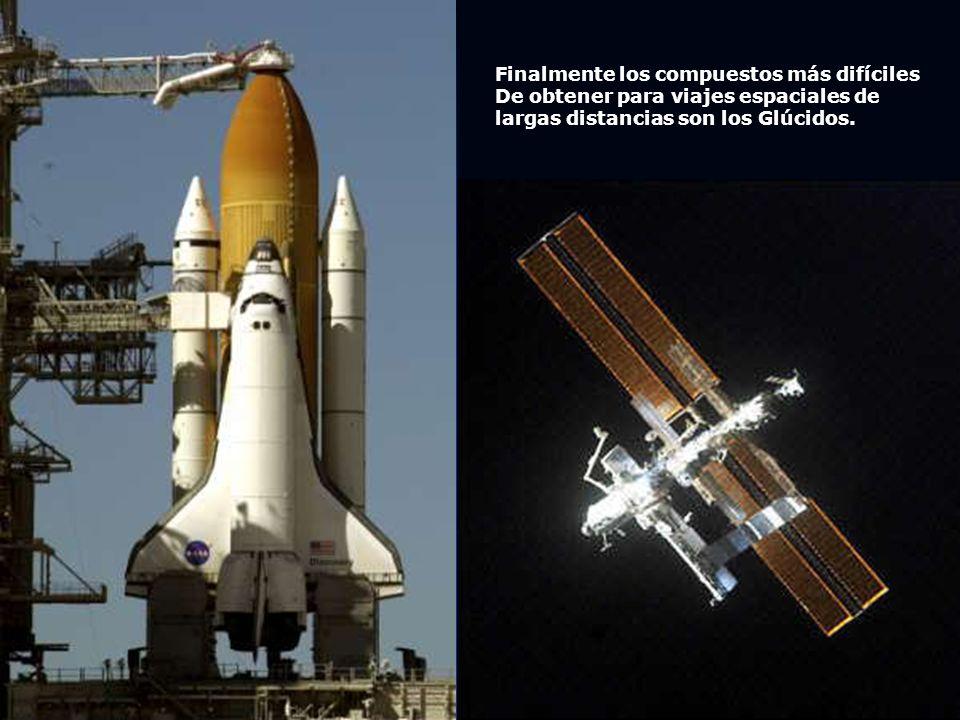 Finalmente los compuestos más difíciles De obtener para viajes espaciales de largas distancias son los Glúcidos.