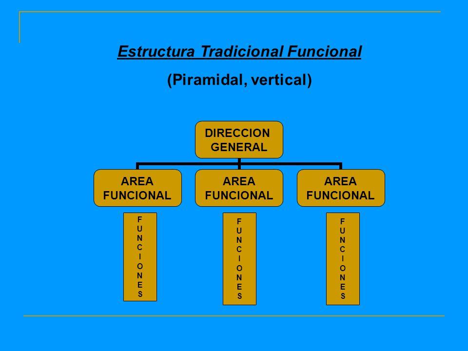 DIRECCION GENERAL AREA FUNCIONAL AREA FUNCIONAL AREA FUNCIONAL FUNCIONESFUNCIONES FUNCIONESFUNCIONES FUNCIONESFUNCIONES Estructura Tradicional Funcional (Piramidal, vertical)