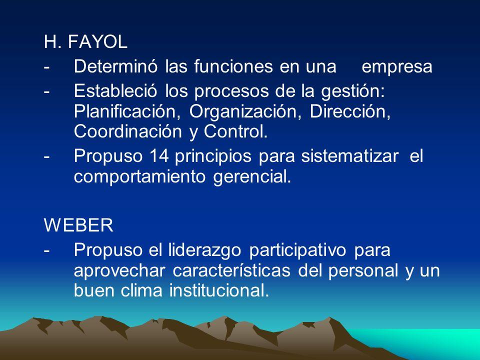 H. FAYOL - Determinó las funciones en una empresa - Estableció los procesos de la gestión: Planificación, Organización, Dirección, Coordinación y Cont
