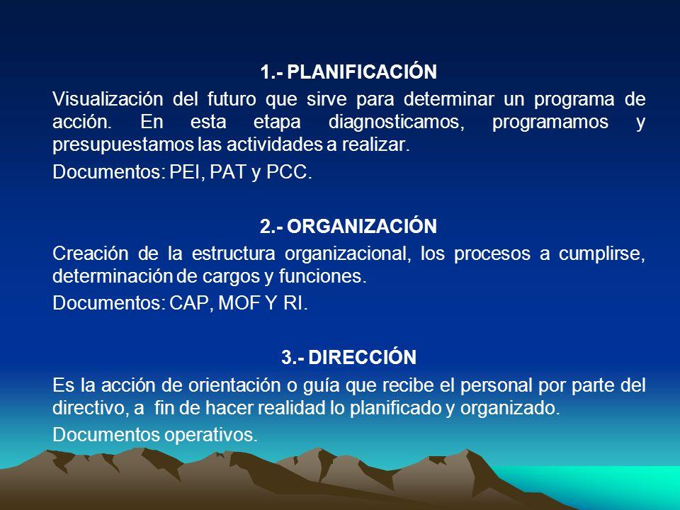 1.- PLANIFICACIÓN Visualización del futuro que sirve para determinar un programa de acción. En esta etapa diagnosticamos, programamos y presupuestamos