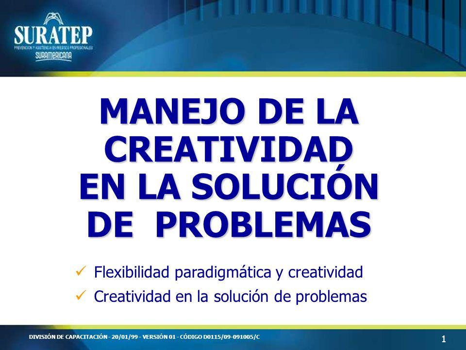 1 DIVISIÓN DE CAPACITACIÓN - 20/01/99 - VERSIÓN 01 - CÓDIGO D0115/09-091005/C MANEJO DE LA CREATIVIDAD EN LA SOLUCIÓN DE PROBLEMAS Flexibilidad paradi