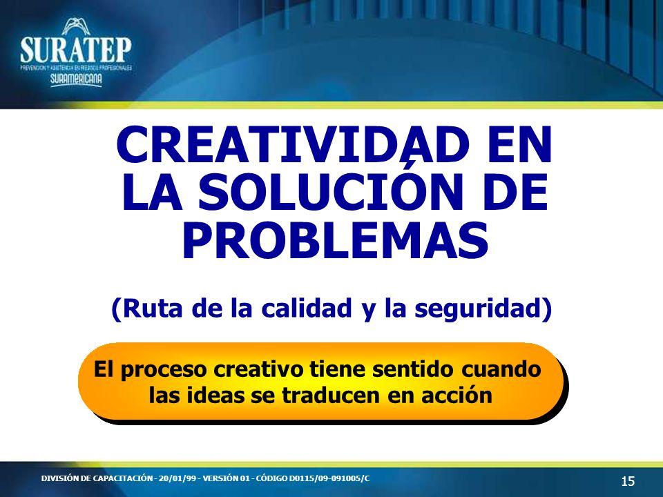15 DIVISIÓN DE CAPACITACIÓN - 20/01/99 - VERSIÓN 01 - CÓDIGO D0115/09-091005/C CREATIVIDAD EN LA SOLUCIÓN DE PROBLEMAS (Ruta de la calidad y la seguri