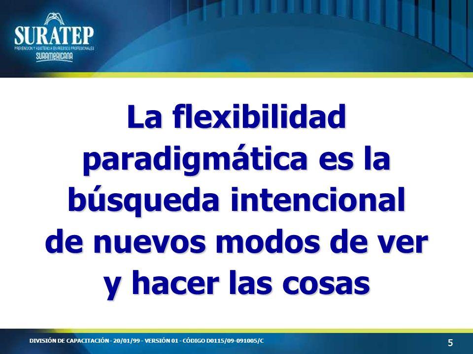 5 DIVISIÓN DE CAPACITACIÓN - 20/01/99 - VERSIÓN 01 - CÓDIGO D0115/09-091005/C La flexibilidad paradigmática es la búsqueda intencional de nuevos modos