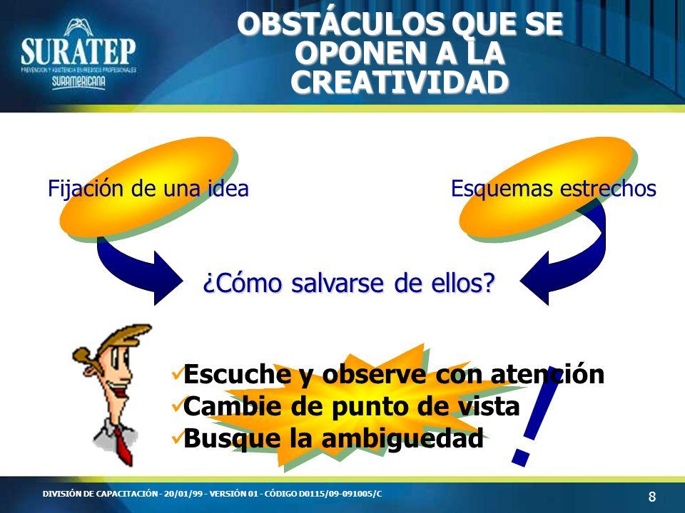 9 DIVISIÓN DE CAPACITACIÓN - 20/01/99 - VERSIÓN 01 - CÓDIGO D0115/09-091005/C ¿CÓMO SER MÁS CREATIVO.