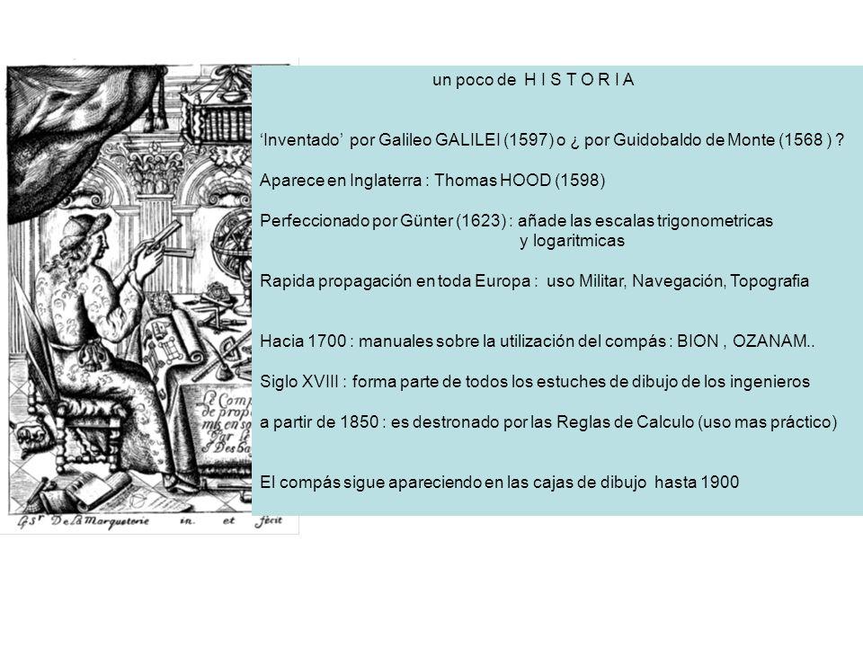 un poco de H I S T O R I A Inventado por Galileo GALILEI (1597) o ¿ por Guidobaldo de Monte (1568 ) ? Aparece en Inglaterra : Thomas HOOD (1598) Perfe
