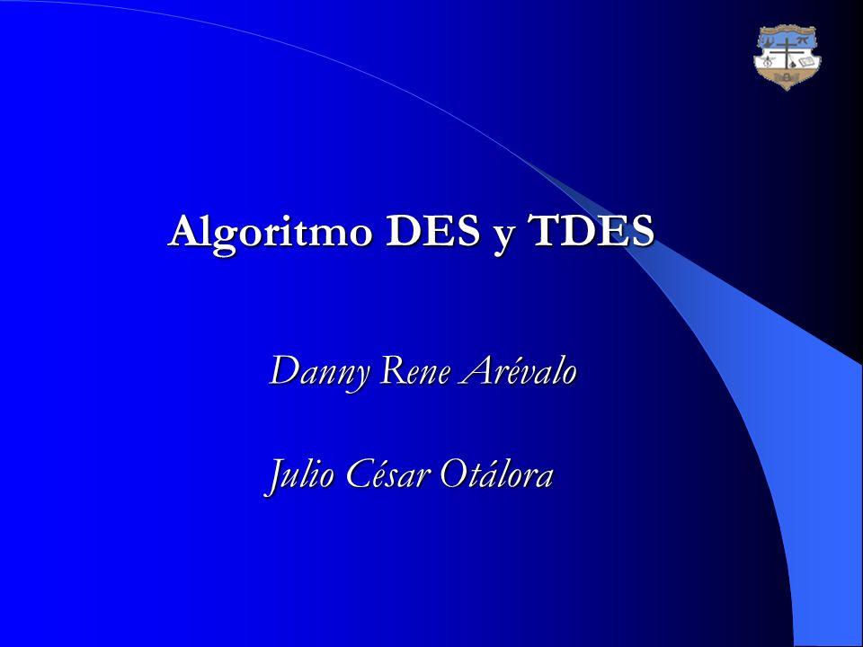 Algoritmo DES y TDES Algoritmo DES y TDES Danny Rene Arévalo Julio César Otálora