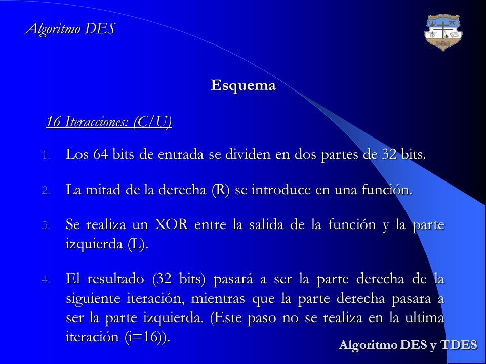Algoritmo DES y TDES Algoritmo DES y TDES Algoritmo DES Esquema 16 Iteracciones: (C/U) 1. Los 64 bits de entrada se dividen en dos partes de 32 bits.